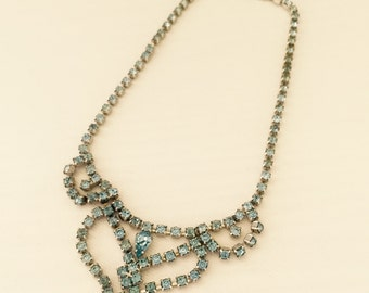 Blue Rhinestone Necklace -1940s Vintage Festoon Necklace- Something Blue- Wedding, Bride, Bridal Jewelry, Maid of Honor, Costume Jewelry