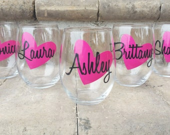 Personalized Wine Glasses, Personalized Bachelorette Glasses, Bachelorette Party Wine Glass, Girls Night Out