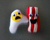 Felt Bacon Magnet - Felt Egg Magnet - Breakfast Magnet Set - Food Magnets - Funny Magnets - Funny Gifts for Friends - Novelty Gifts