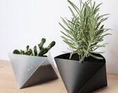 3box XL Planters set of 2 - Origami Planter, Plastic Planter, Geometric Panter, Geometric Terrarium, Transparent Planter