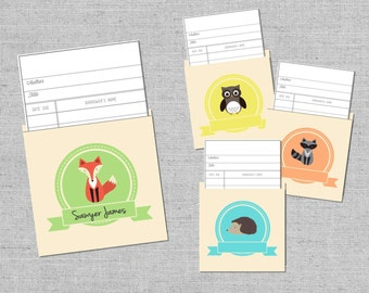 DIY Library Pocket Cards for Bring-a-Book Baby Shower { Forest Animals Woodland Creatures Fox Raccoon Hedgehog Owl Printables Digital }