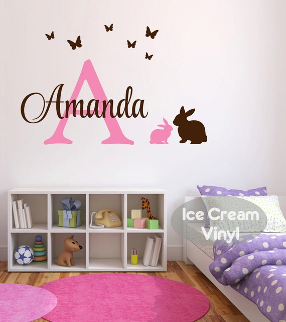 Name Decal Bunny Butterfly Decal Vinyl Monogram