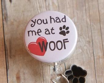 Badge Reel Dog ID Badge Holder with Paw Charm- Dog Badge Reel  - Badge Reel- Badge Pull- Veterinary Badge Holder