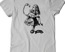 Alice in Wonderland Shirt T-Shirt Tee Funny Humor Ladies Girl Womens Mens Gift Present Literary Quote Book Were All Mad Here Cheshire Cat