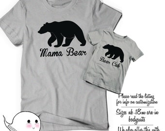 Mama Bear Baby Bear Matching Shirts Morthers Day Gift Idea T Shirt Tee Infant Toddler Child Kid Gift Mom Baby Shower Momma Announcement Cute