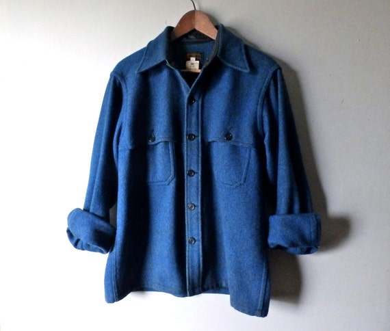 Vintage Eddie Bauer Teal Blue Wool Button Down Shirt Size