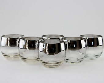 Mid Century Modern Silver Fade Roly Poly Glasses Vitreon Queens Lusterware  Set of 6