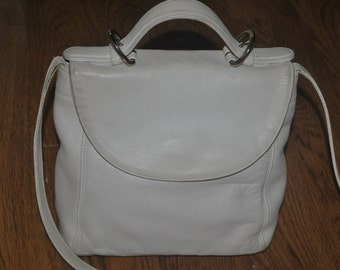 Coach Vintage Soho Creamy White Leather Convertable Handbag/Messenger Bag Inc Top Handle & Hang Tag