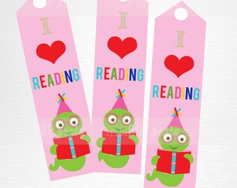 Pink Bookworm Birthday Party Printable Bookmarks Kids Party Favor Book Party