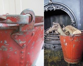 Large vintage fire bucket~Fab storage for kindling or logs~Decorative and appealing rivetted construction~Chippy, quirky & fun