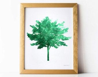 Dark Green Tree Print, Green decor art PRINTABLE Instant download print, Tree wall decor, Tree wall print, Green print, Nature Office decor