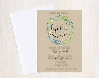 Bridal Shower Invitation Printable Rustic Floral/Bridal Shower Invite/Rustic Bridal Shower/Bridal Shower Invitation Print at home