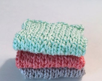 Miniature Faux Shelf Blankets - Shabby Chic Hand Knitted - Stack of 3 - Pastel Green, Coral, Grey