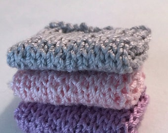 Miniature Faux Shelf Blankets - Shabby Chic Hand Knitted - Stack of 3 -Grey, Pink, Lavendar