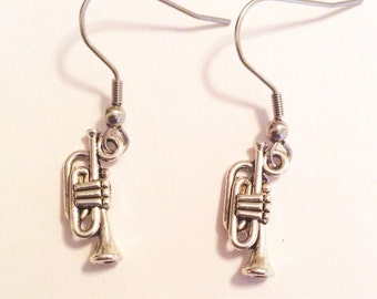 Trumpet earrings, musicians, musical earrings, horn players, gifts for trumpet players, nickel free, hypoallergenic