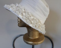 Vintage 1970's White Wide Brim Hat * Organdy . Silver Edged Ribbon . Union Made . Excellent Vintage Condition