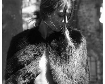1940s french fur Caplet Stole // 40s fur cape