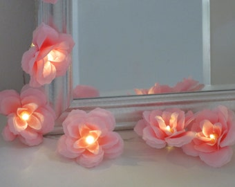 20 Bright pink rose fairy lights - fairy string lights - 20 flower lights