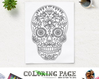 Halloween Coloring Pages Skulls. Floral Skull Halloween Party Coloring Page Printable Art Pages  Instant Download Digital Holiday coloring page Etsy