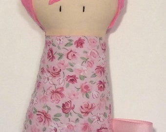 "Handmade Baby Girl 7.5"" Darlene Softie Stuffed Toy Fabric Baby Gift Teething Toy Baby Shower Gift"