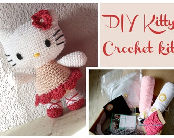 "DIY Kitty Crochet kit to crochet your own kitty about 10"" tall!"