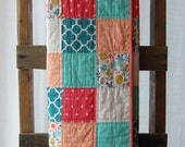 Modern Baby Quilt, Baby Girl Deer Quilt, Coral and Mint Quilt, Girl Quilt