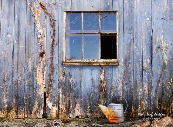 Blue Abandoned Barn Watering Can Original Photography and Canvas