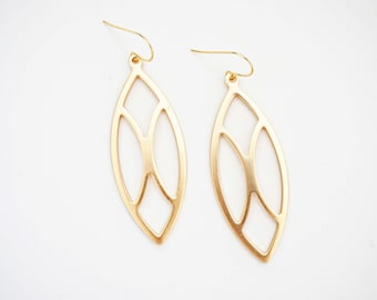 Matte Gold Windowpane Pendant Earrings