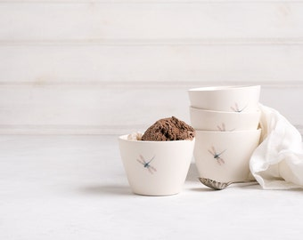 Dragonfly Ceramic Serving Bowls Set, White Handmade Ceramic Bowl, Pottery Dessert Snack Ice Cream Bowl, Wedding Gift, Couple Gift Idea