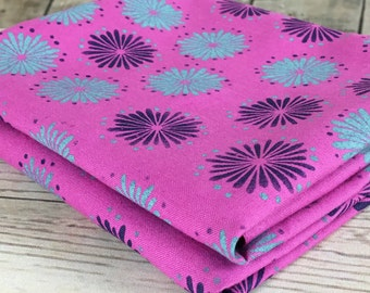 Pink Fabric with rustic flowers, cotton fabric with hand printed flowers design in mint green and dark blue, fabric panels