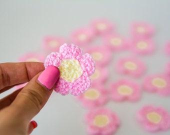 Tiny Crochet Flowers, Mini Crochet Flower Appliques, crochet flower embellishment, Scrapbooking, ivory and pink flowers (Set of 12)