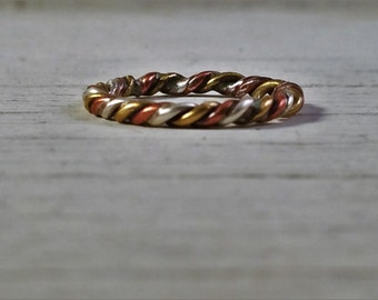 3 Metal twisted ring Silver Bronze and Brass