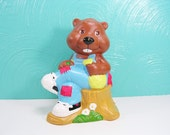 "Vintage 1984 Get Along Gang Ceramic Coin Bank, Bingo ""Bet it All"" Beaver Bank"