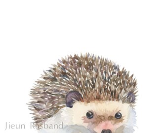 baby Hedgehog -instant print, printable art, animal print art,nursery decor, wall art, watercolor