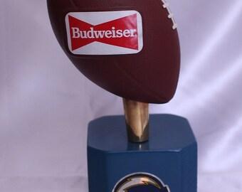 RARE Vintage Budweiser Football Beer Tap on Custom Wood Stand Superbowl