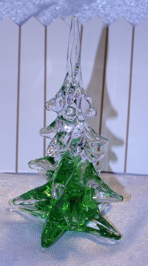 Vintage hand blown glass christmas tree green and clear signed