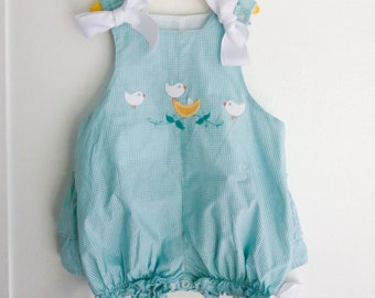 24 months: Birds and Gingham Bubble Romper, Ruffled Bottom, Bird Appliqué, by The Bailey Boys