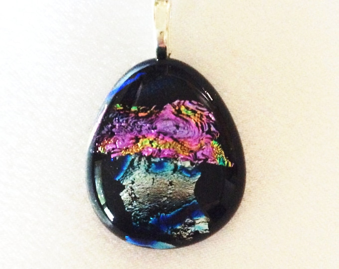 Dichroic Glass Pendant, Fused Glass Jewelry, Glass Jewelry, Statement Jewelry, Gift for her, Resort Wear, jewlry, Glass Art, jewellery