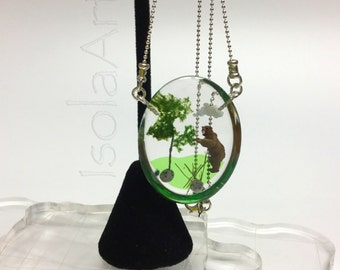 Brown bear forest scene diorama oval pendant, crystal clear resin, handmade jewelry, 925 sterling silver necklace