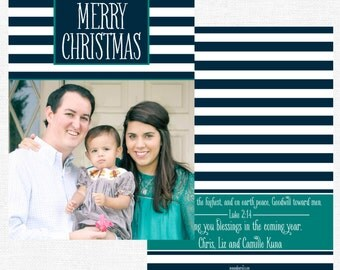 Teal and Navy and White Striped Christmas Cards-FREE SHIPPING or DIY printable
