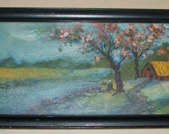 Antique Textured Print PAINTING Signed Late 1800's Early 1900's COUNTRY COTTAGE A M Chett ? Art Work