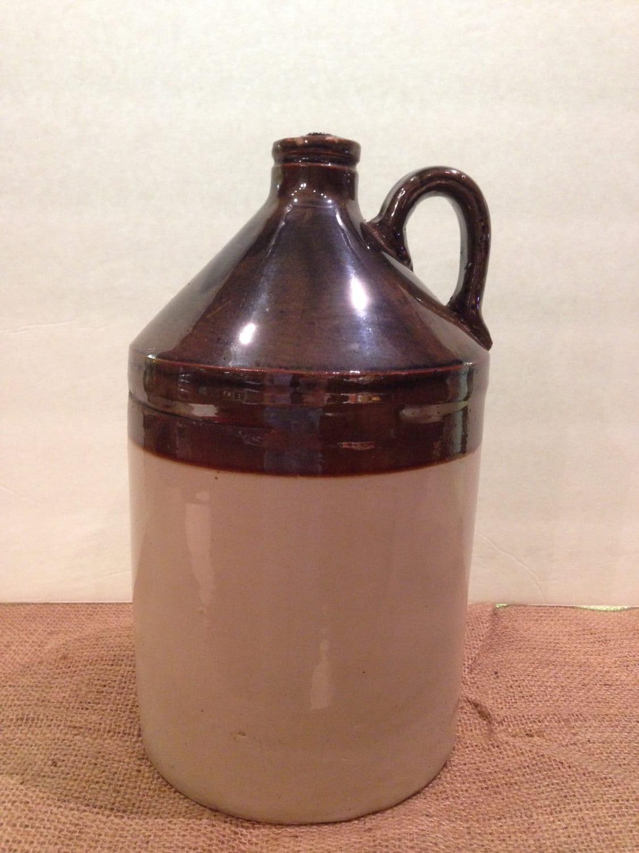 Antique Stoneware Crock Jug Vintage Pottery Whiskey Jug