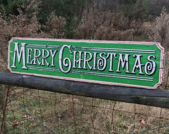 Wooden Sign - Merry Christmas Lg - Stocking holder - Southern - Rustic - Holidays