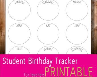 Student Birthday Tracker - for TEACHERS