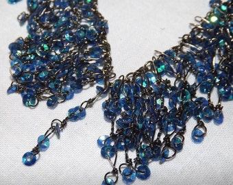 Vintage Necklace Aurora Borealis Sequins. Ideal for Prom Wedding or Special Occasion