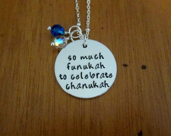 Hanukkah necklace. So much funukah to celebrate chanukah! Festival of lights! Hand stamped. Holiday necklace. Hanukkah Gift.