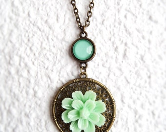 Lotus Necklace Pendant Mint Flower Necklace Lotus Flower Necklace Light Green Flower Necklace Lotus Flower Gifts Lotus Jewelry for Teenagers