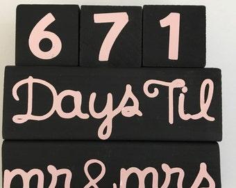 Bride and Groom Wedding Countdown Blocks