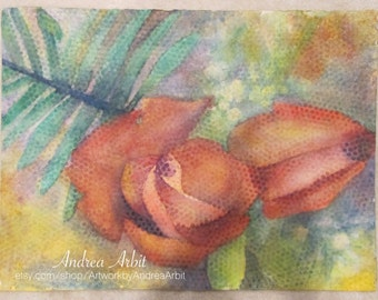 """Bubble Wrap Roses - 22""""x30"""" Watercolor Painting"""