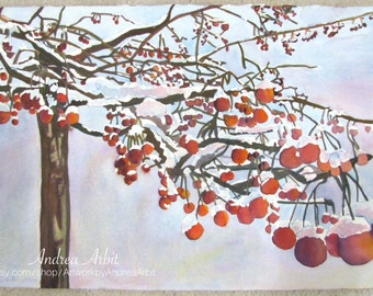 "Winter Berries - 15""x22"" Watercolor Painting"
